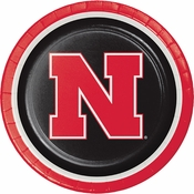 Red and black University of Nebraska Dinner Plate sold in quantities of 8 / pkg, 12 pkgs / case