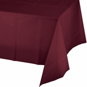 Touch of Color Burgundy Plastic Tablecloths in quantities of 1 / pkg, 6 pkgs / case
