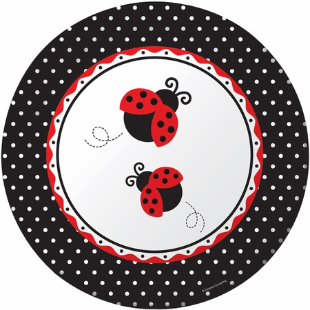 Red and black Ladybug Fancy Banquet Plates sold in quantities of 8 / pkg, 12 pkgs / case