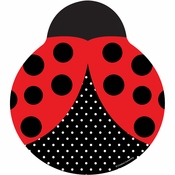 Red and black Ladybug Fancy Shaped Plates sold in quantities of 8 / pkg, 12 pkgs / case