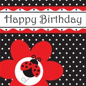 Red and black Ladybug Fancy Happy Birthday Luncheon Napkins sold in quantities of 16 / pkg, 12 pkgs / case