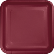 Touch of Color Burgundy Square Dinner Plates in quantities of 18 / pkg, 10 pkgs / case