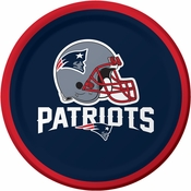Red, white and blue New England Patriots Dessert Plates are sold 8 / pkg, 12 pkgs / case