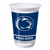 Blue and white Penn State 20 oz Plastic Cup sold in quantities of 8 / pkg, 12 pkgs / case