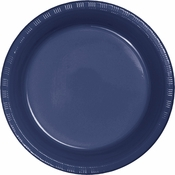 Touch of Color Navy Plastic Banquet Plates in quantities of 20 / pkg, 12 pkgs / case