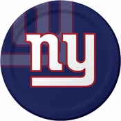 Blue, red and white New York Giants Dinner Plates sold in quantities of 8 / pkg, 12 pkgs / case