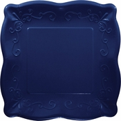 Navy Embossed Square Banquet Plates 48 ct
