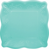 Teal Embossed Square Banquet Plates 48 ct