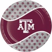 Maroon and white Texas A&M University Dinner Plate sold in quantities of 8 / pkg, 12 pkgs / case