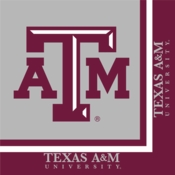 Maroon and white Texas A&M University Luncheon Napkin sold in quantities of 20 / pkg, 12 pkgs / case
