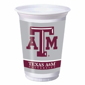 Maroon and white Texas A&M University 20 oz Plastic Cups sold in quantities of 8 / pkg, 12 pkgs / case