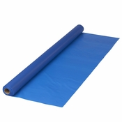 "Blue Plastic Banquet Table Roll measures 40"" x 100 sold in quantities of 1 / pkg, 1 pkg / case"