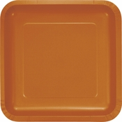 Pumpkin Spice Orange Square Dinner Plates 180 ct