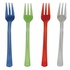 Blue, green, red and clear BPA free plastic Assorted Translucent TrendWare Mini Forks is sold in quantities of 24 / pkg, 6 pkgs / case
