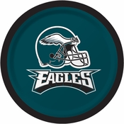 Midnight green, black and white Philadelphia Eagles Dessert Plates sold in quantities of 8 / pkg, 12 pkgs / case