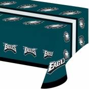 Midnight green, black and white Philadelphia Eagles Tablecloths sold in quantities of 1 / pkg, 12 pkgs / case