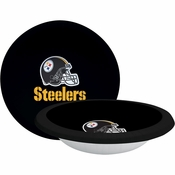 Black, white and gold Pittsburgh Steelers 20 oz Paper Bowls sold in quantities of 8 / pkg, 12 pkgs / case