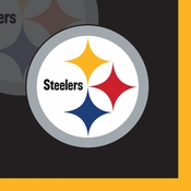 Black, white and gold Pittsburgh Steelers Beverage Napkins sold in quantities of 16 / pkg, 12 pkgs / case