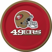 Red, gold and white San Francisco 49ers Dessert Plates sold in quantities of 8 / pkg, 12 pkgs / case