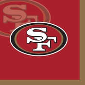 Red, gold and white San Francisco 49ers Beverage Napkins sold in quantities of 16 / pkg, 12 pkgs / case