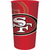 Red, gold and white San Francisco 49ers 22 oz Plastic Stadium Cups sold in quantities of 1 / pkg, 20 pkgs / case