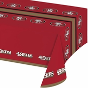 Red, gold and white San Francisco 49ers Tablecloths sold in quantities of 1 / pkg, 12 pkgs / case