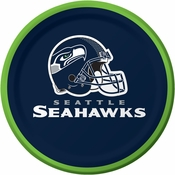 Blue and silver Seattle Seahawks Dessert Plates sold in quantities of 8 / pkg, 12 pkgs / case