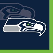 Blue and silver Seattle Seahawks Beverage Napkins sold in quantities of 16 / pkg, 12 pkgs / case