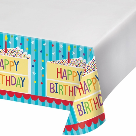Cake Birthday Plastic Tablecloths 12 ct