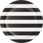 Black Polka Dots and Stripes Dinner Plates 96 ct