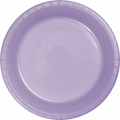 Touch of Color Luscious Lavender Plastic Dinner Plates in quantities of 20 / pkg, 12 pkgs / case