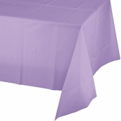 Touch of Color Luscious Lavender Plastic Tablecloths in quantities of 1 / pkg, 12 pkgs / case