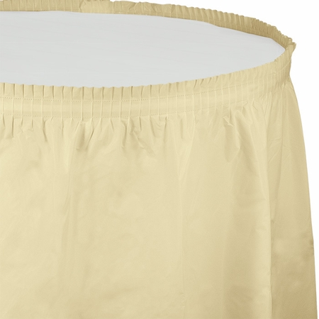 Touch of Color Ivory Plastic Tableskirt in quantities of 1 / pkg, 6 pkgs / case
