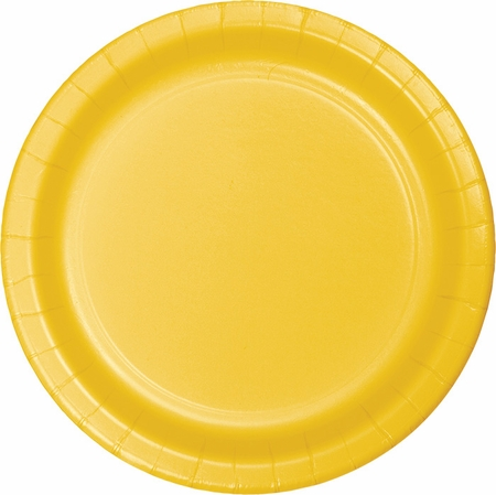 Touch of Color School Bus Yellow Dessert Plates in quantities of 24 / pkg, 10 pkgs / case