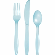 Touch of Color Pastel Blue Assorted Plastic Cutlery in quantities of 24 / pkg, 12 pkgs / case
