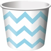 Light Blue Chevron Ice Cream Treat Cups sold in quantities of 6 / pkg, 12 pkgs / case