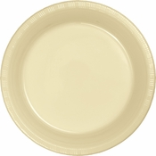 Touch of Color Ivory Plastic Dinner Plates in quantities of 20 / pkg, 12 pkgs / case