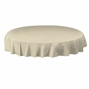 "Ivory Plastic Octy-Round Tablecloths measures 82"" diameter sold in quantities of 1 / pkg, 12 pkgs / case"
