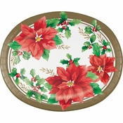 Elegant Poinsettia Oval Plates 96 ct