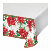 Elegant Poinsettia Plastic Tablecloths 12 ct