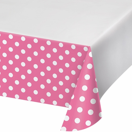 Candy Pink Polka Dots and Stripes Plastic Tablecloths 12 ct