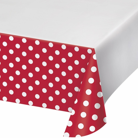 Red Polka Dots and Stripes Plastic Tablecloths 12 ct