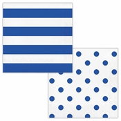 Cobalt Blue Polka Dots and Stripes Luncheon Napkins 192 ct