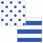 Cobalt Blue Polka Dots and Stripes Beverage Napkins 192 ct