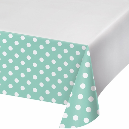 Mint Green Polka Dots and Stripes Plastic Tablecloths 12 ct