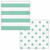 Mint Green Polka Dots and Stripes Luncheon Napkins 192 ct