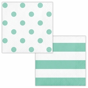 Mint Green Polka Dots and Stripes Beverage Napkins 192 ct
