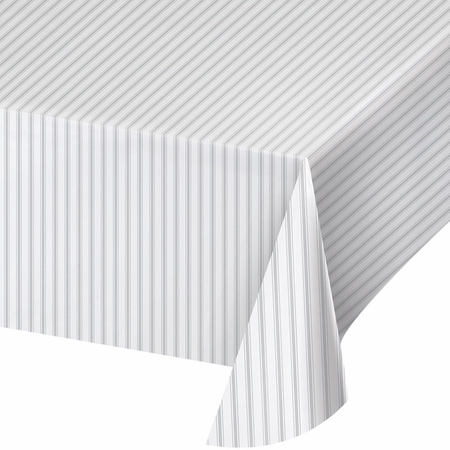 Gray Ticking Stripe Plastic Tablecloths 6 ct