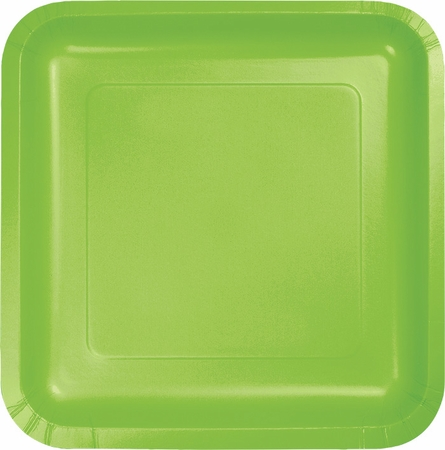 Touch of Color Fresh Lime Square Dessert Plates 180 ct in quantities of 18 / pkg, 10 pkgs / case