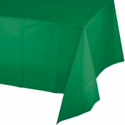 Touch of Color Emerald Green Plastic Tablecloths in quantities of 1 / pkg, 12 pkgs / case